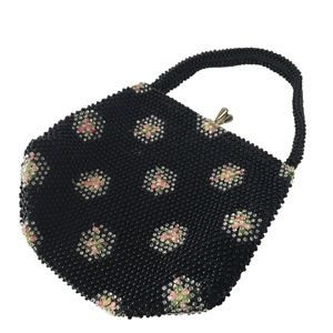 Vintage Corde Bead Clutch Purse Black Pink Floral